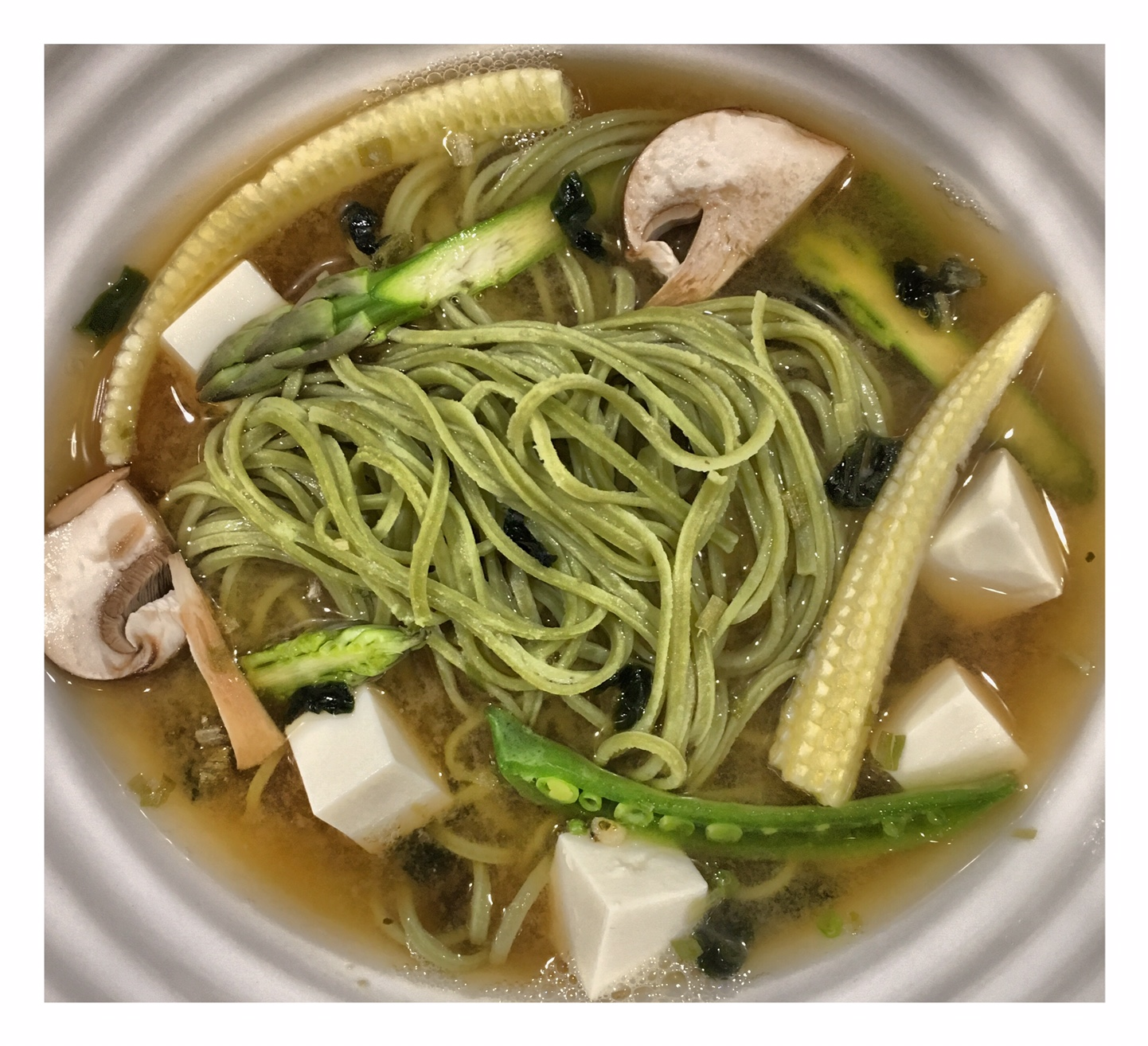 Miso, Tofu & Edamame Noodle Soup
